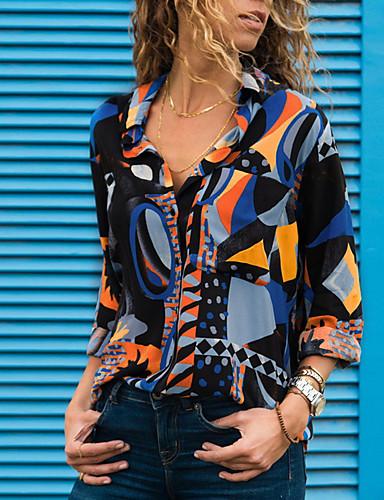 cheap Autumn New Outfits-Women's Daily Street chic Shirt - Geometric Print V Neck Blue