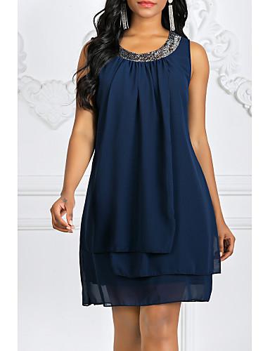 preiswerte Damen Kleider-Damen Übergrössen Ausgehen Chiffon Kleid Solide Mini
