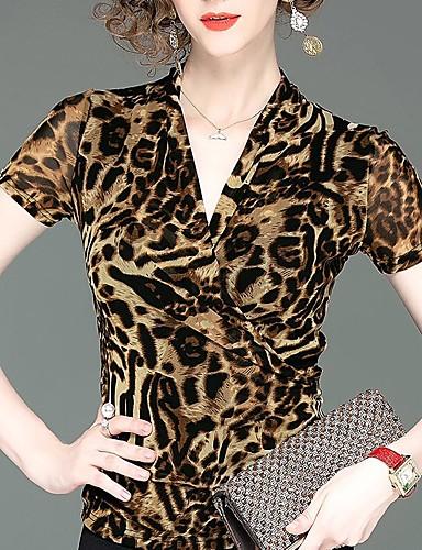 billige Dametopper-T-skjorte Dame - Leopard, Lapper Punk & Gotisk / overdrevet Ananas / Kirsebær / Solblomst Kamel