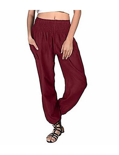 abordables Pantalons Femme-Femme Basique Chino Pantalon - Couleur Pleine Noir Vin Bleu clair S M L