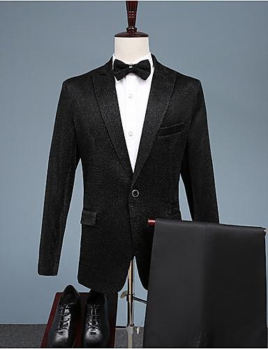 Erkek Suit Sivri Yaka Polyester Siyah US36 / UK36 / EU44 / US38 / UK38 / EU46 / US40 / UK40 / EU48