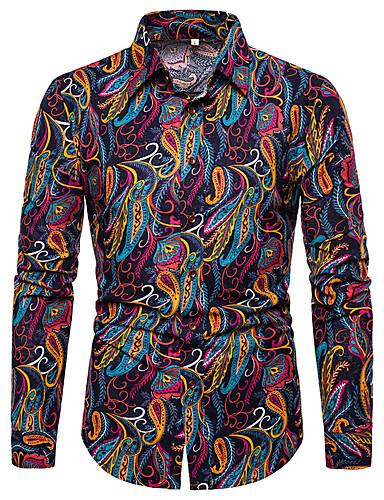 Erkek Gömlek Desen, Zıt Renkli / Grafik Vintage / Sokak Şıklığı Gökküşağı
