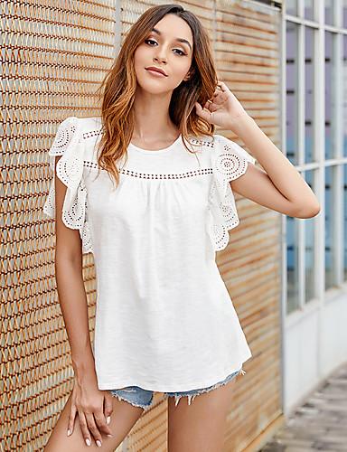 abordables Hauts pour Femmes-Tee-shirt Femme, Couleur Pleine Découpé Basique Blanc Blanche