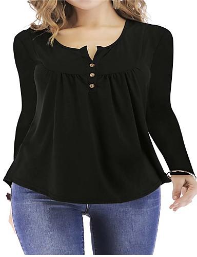 abordables Hauts pour Femme-Tee-shirt Femme, Couleur Pleine Plissé Basique Noir / Blanc / Bleu Noir