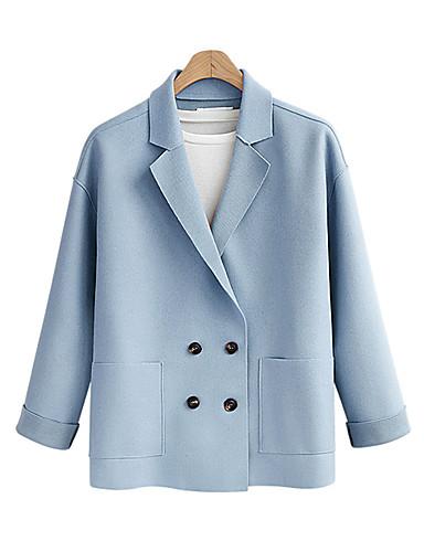billige Ytterklær til damer-Dame Blazer Skjortekrage Polyester Rosa / Kamel / Lyseblå