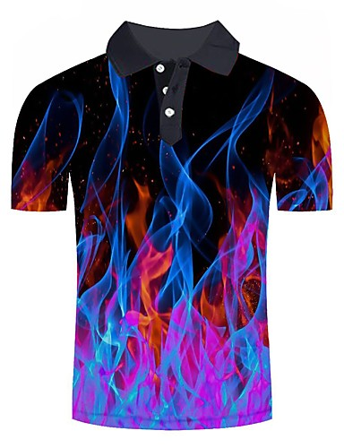 cheap Pre Sale-Men's Daily Going out Basic / Street chic Polo - Color Block / 3D / Graphic Print Rainbow