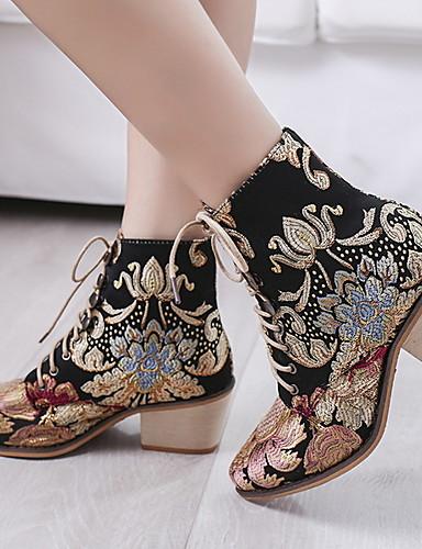 povoljno Ženske čizme-Žene Čizme Kockasta potpetica Okrugli Toe Platno Čizme gležnjače / do gležnja Proljeće & Jesen Duga