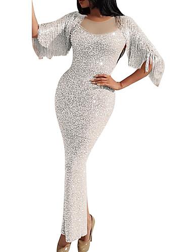 voordelige Maxi-jurken-Dames Verfijnd Elegant Bodycon Schede Trompet / zeemeermin Jurk - Effen, Pailletten Kwastje Patchwork Maxi Wit