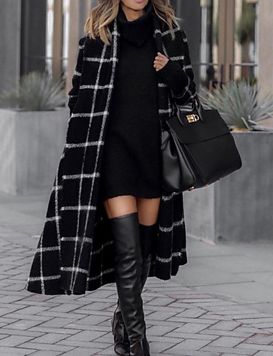 abordables Manteaux & Vestes Femme-Femme Quotidien Automne hiver Longue Trench, Tartan Col roulé Manches Longues Polyester Noir