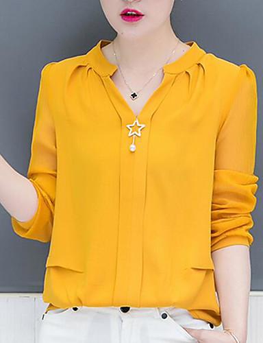 abordables Hauts pour Femmes-Tee-shirt Femme, Couleur Pleine Perlé Business / Basique Noir