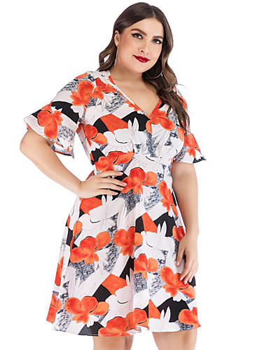 voordelige Grote maten jurken-Dames Elegant Schede Jurk - Bloemen Tot de knie