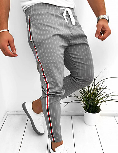 cheap Pre Sale-Men's Basic EU / US Size Chinos Pants - Striped Black Navy Blue Gray US32 / UK32 / EU40 US36 / UK36 / EU44 / Drawstring