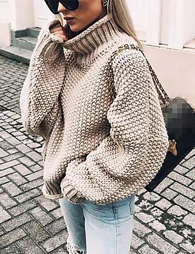 cheap Autumn New Outfits-Women's Solid Colored Long Sleeve Pullover, Turtleneck Fall / Winter Black / White / Purple S / M / L