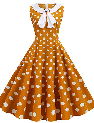 Kadın's Sokak Şıklığı Çan Elbise - Kareli, Desen Diz-boyu