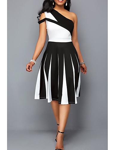 abordables Robes Femme-Femme Elégant Midi Patineuse Robe - Mosaïque, Couleur Pleine Noir & Blanc Noir Violet Bleu S M L Sans Manches