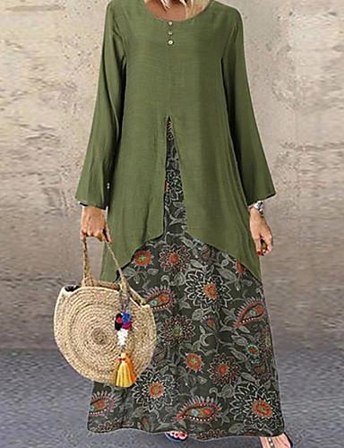 voordelige Maxi-jurken-Dames Grote maten Wijd uitlopend Jurk - Polka dot Maxi