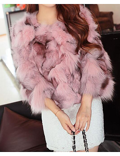 cheap Autumn New Outfits-Women's Party / Club Sexy / Sophisticated Winter Short Faux Fur Coat, Solid Colored / Color Block Round Neck 3/4 Length Sleeve Faux Fur / Fox Fur Patchwork Blushing Pink / Purple / Khaki