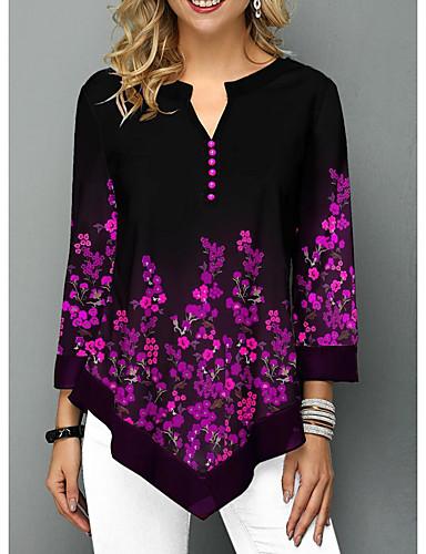 billige Dametopper-T-skjorte Dame - Blomstret Lilla