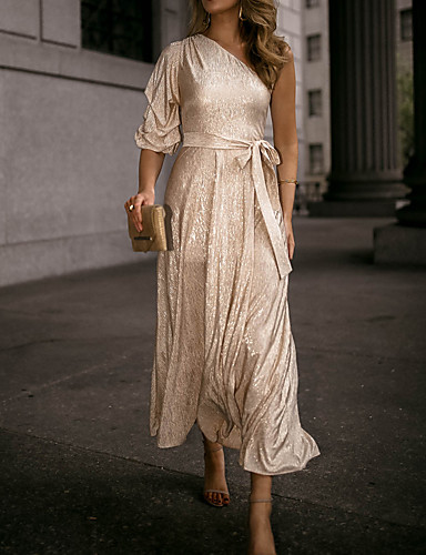 billige Kjoler-Dame Elegant Swing Kjole - Ensfarget Maksi