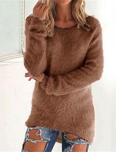 povoljno Ženske majice-Žene Jednobojni Dugih rukava Pullover, Okrugli izrez Crn / Svjetlosmeđ / Blushing Pink S / M / L