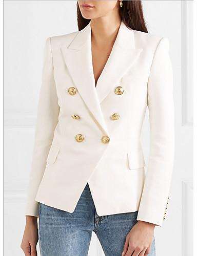 voordelige Damesblazers & jasjes-Dames Blazer Puntige revers Polyester Wit / Slank