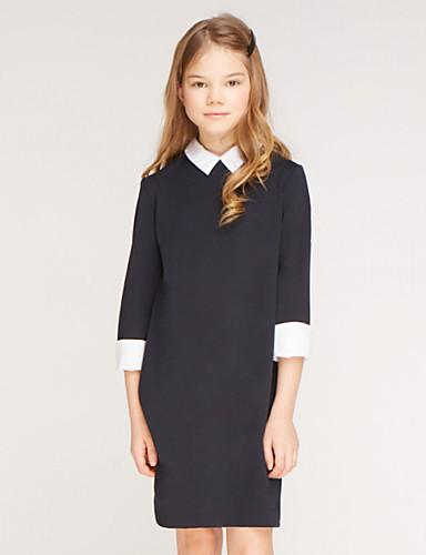 povoljno Pretprodaja-Djeca Djevojčice Aktivan Jednobojni 3/4 rukava Iznad koljena Haljina Crn