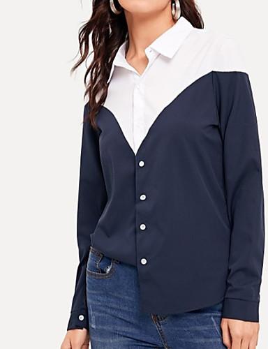 abordables Hauts pour Femme-Chemise Femme, Couleur Pleine Chic de Rue / Elégant Bleu & blanc Bleu Roi