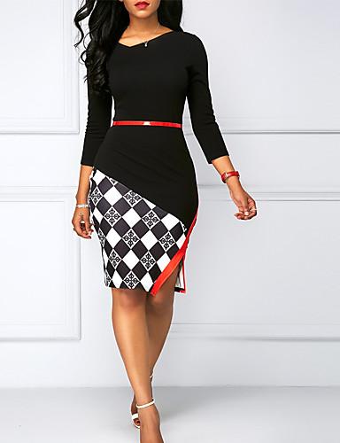 povoljno Ženske haljine-Žene Osnovni Korice Haljina Geometrijski oblici Do koljena