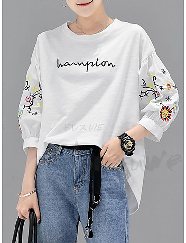 billige Topper til damer-T-skjorte Dame - Bokstaver Hvit