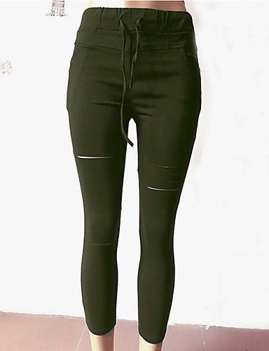 abordables Pantalons Femme-Femme Basique Mince Pantalon - Couleur Pleine Violet Vert Véronèse Gris Clair L XL XXL