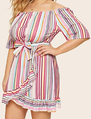 voordelige Grote maten jurken-Dames Boho Street chic Skater Jurk - Regenboog, Ruche Veters Boven de knie