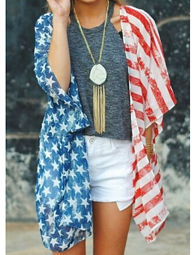 povoljno Majica-Majica Žene - Vintage Dnevno Državne zastave Print Plava
