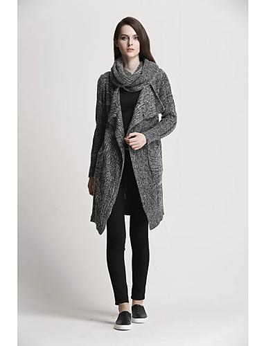 billige Dametopper-Dame Ensfarget Langermet Cardigan, Skjortekrage Lyseblå / Mørkegrå En Størrelse