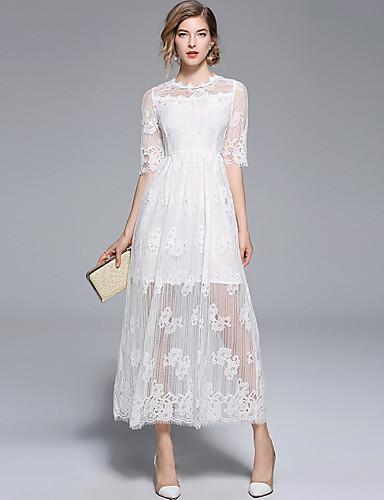 billige Kjoler-A-linje Besmykket Ankellang Blonder Kjole til brudens mor med Blonder av LAN TING Express