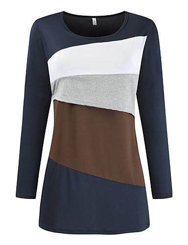billige Dametopper-Bluse Dame - Fargeblokk, Lapper Grunnleggende Blå