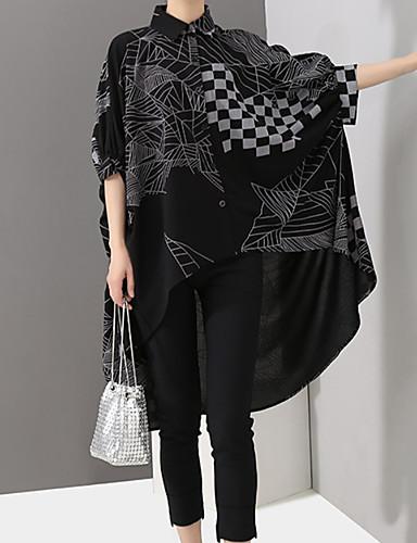 billige Topper til damer-Skjorte Dame - Geometrisk, Trykt mønster Grunnleggende Svart