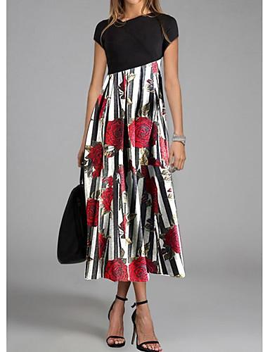 hesapli Print Dresses-Kadın's Sokak Şıklığı Kombinezon Elbise - Geometrik, Desen Maksi