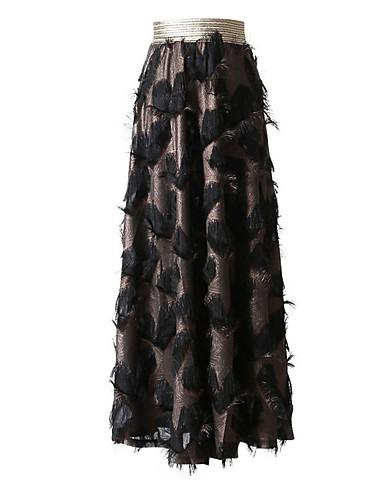abordables Faldas para Mujer-Mujer Básico Maxi Línea A Faldas - Encaje, Geométrico Dorado Blanco Negro S M L