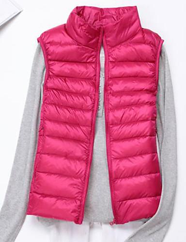 voordelige Dames donsjassen & parka's-Dames Effen Normaal Vest, Polyester Zwart / Wijn / Wit S / M / L