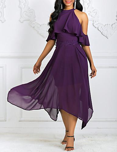hesapli Kadın Elbiseleri-Kadın's Çan Elbise - Solid Boyundan Bağlamalı Asimetrik