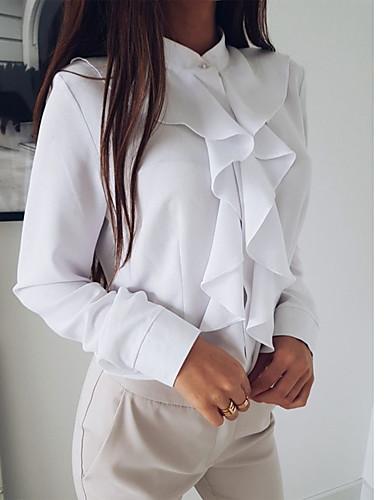 billige Dametopper-Skjorte Dame - Ensfarget, Drapering Grunnleggende / Elegant Svart / Hvit Svart
