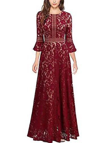 Kadın's A Şekilli Elbise - Solid Maksi