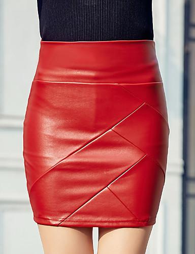 abordables Jupes-Femme Basique Moulante Jupes - Couleur Pleine Noir Fuchsia Rouge S M L