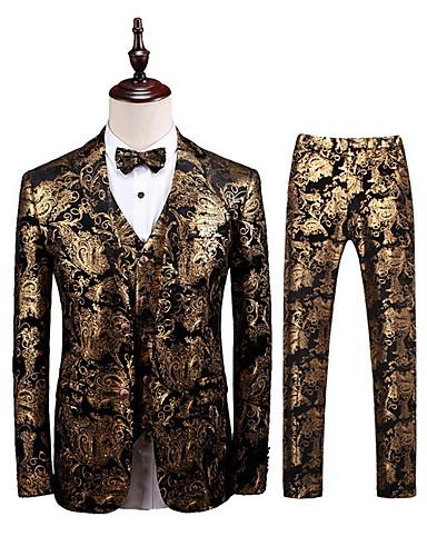voordelige Herenblazers & kostuums-Heren Pakken, Geometrisch V-hals Polyester Goud