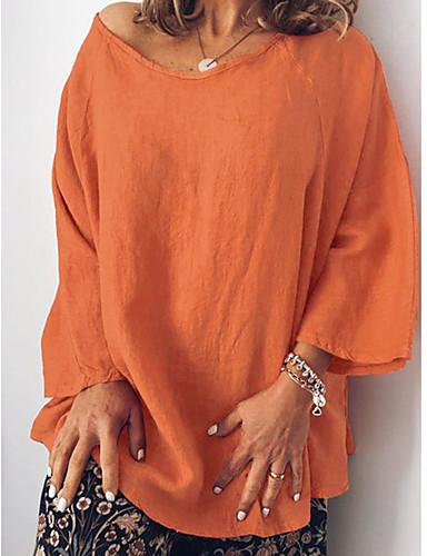 abordables Hauts pour Femme-Tee-shirt Femme, Couleur Pleine Basique Blanc / Bleu Bleu clair