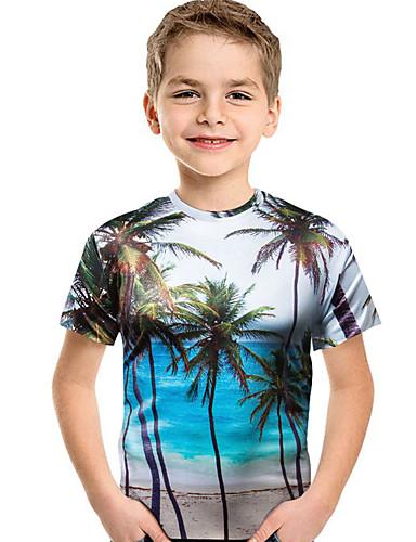 Çocuklar Genç Erkek Temel Geometrik Kısa Kollu Tişört Havuz