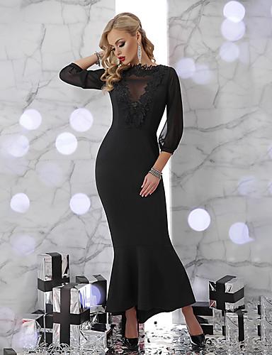 Kadın's sofistike Zarif Trompet / Balık Elbise - Solid, Kırk Yama Midi