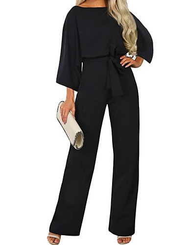 cheap Women's Jumpsuits & Rompers-Women's Street chic Black Navy Blue Beige Jumpsuit, Solid Colored Drawstring S M L