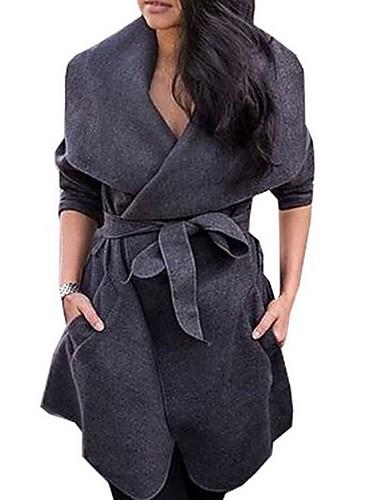 저렴한 여성 아웃웨어-여성용 일상 보통 트렌치 코트, 솔리드 V 넥 긴 소매 폴리에스테르 블랙 / 다크 그레이 / 카키