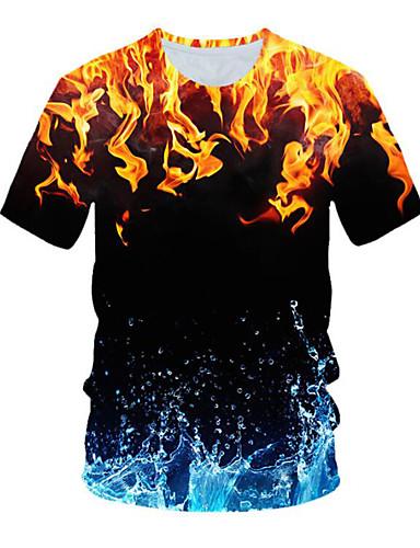 voordelige Heren T-shirts & tanktops-Heren Street chic Geplooid / Print T-shirt 3D Blauw & Wit Goud